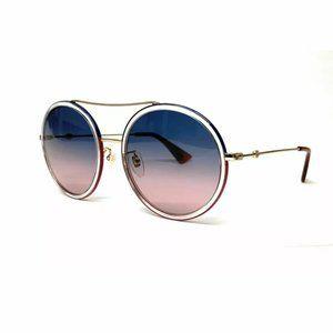 Gucci Women's Gold Blue Round Sunglasses!